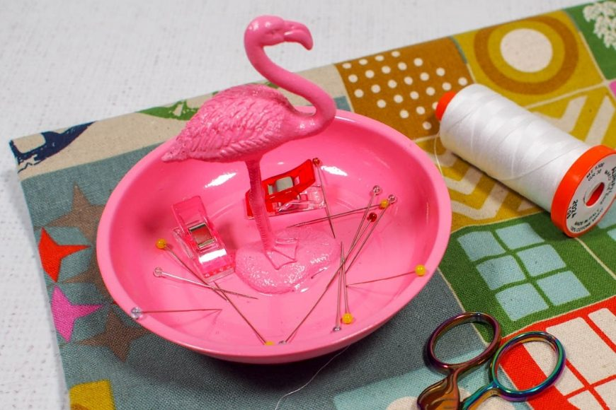 Pink Magnetic Pin Bowl with a flamingo