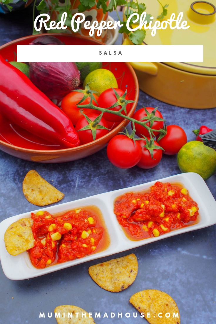 Red Pepper Chipotle Salsa is a tasty alternative to tomato salsa and is vegan and delicious.
