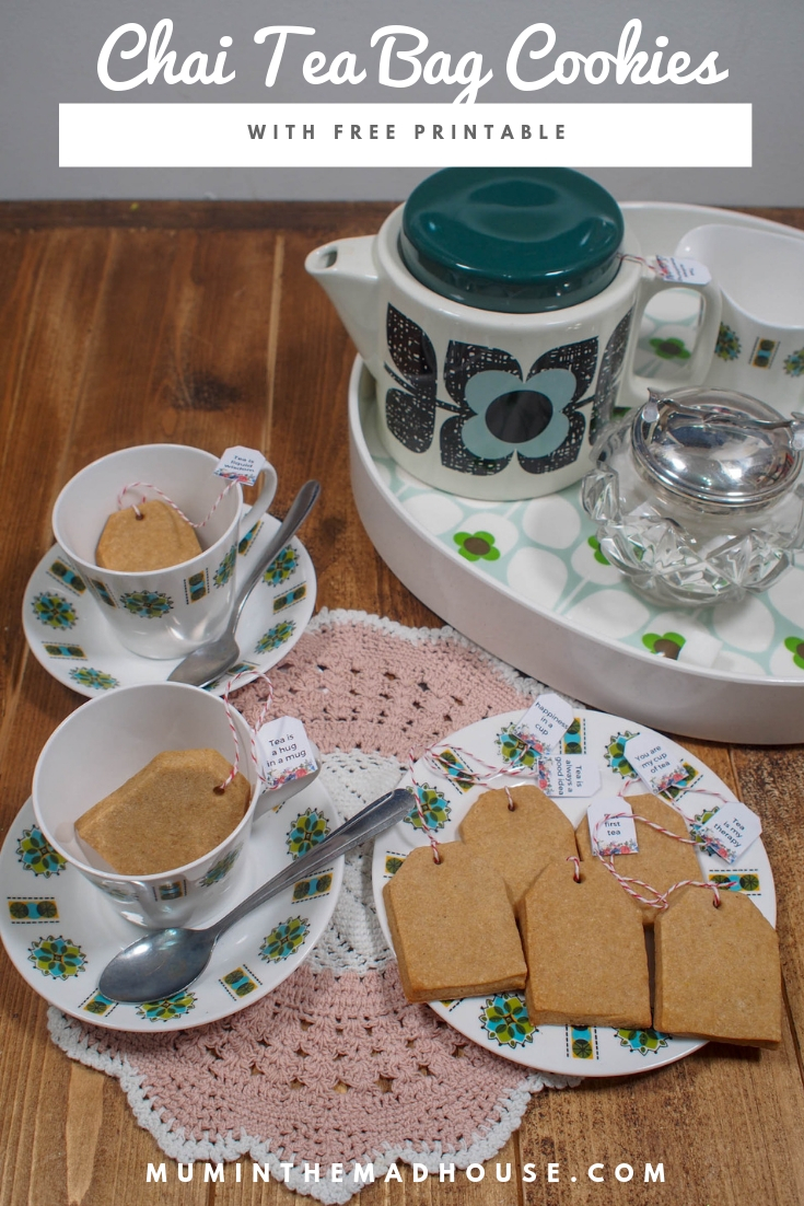 Free tea bag printables for chai shortbread tea bag cookies. These adorable spicy teabag shaped cookies are sure to be a hit at your next party.