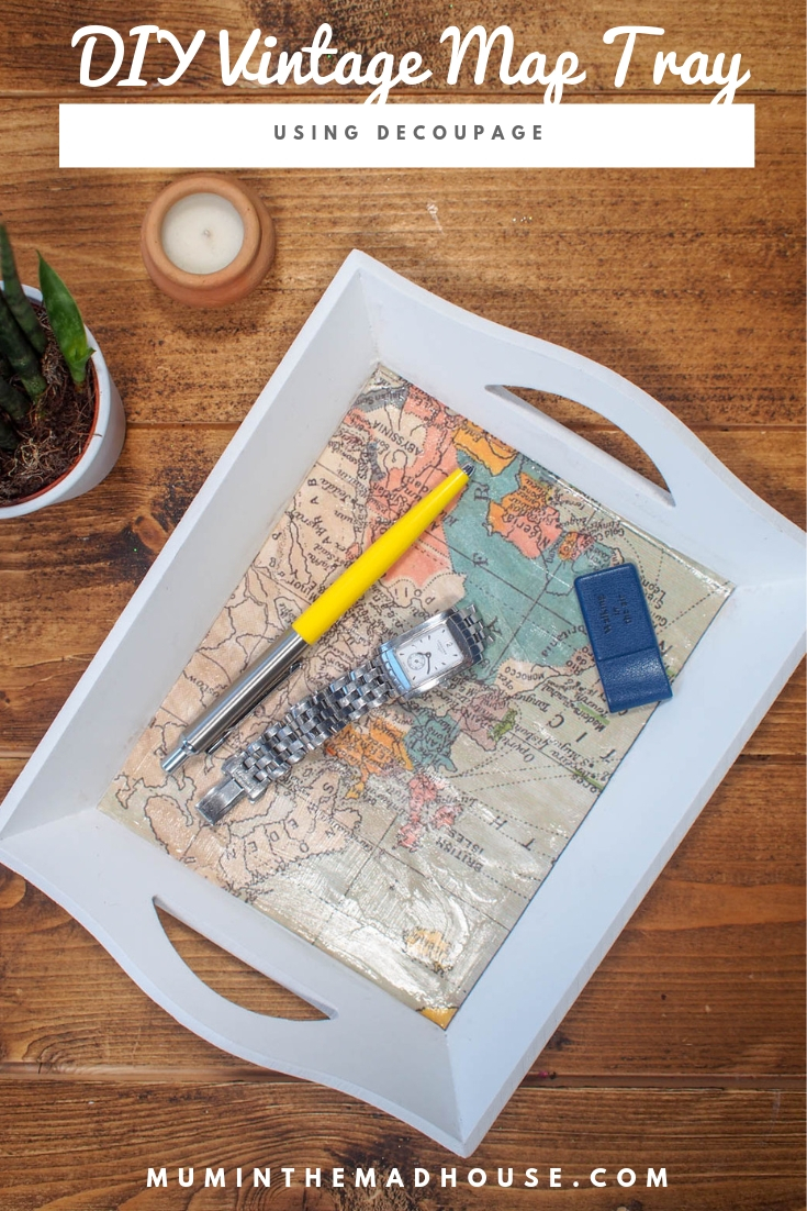 This DIY Vintage Map Tray would make the perfect personalised homemade gift and it is so simple to make plus you don't need any special material.
