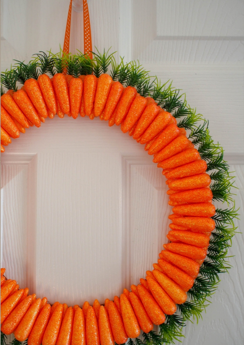 For less than £15 you can make a fabulous create this fun and unique carrot Easter wreath This will lead the bunny directly to your house!