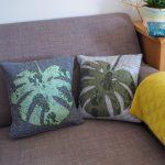 DIY Applique Monstera Leaf Cushions using The Cricut Maker