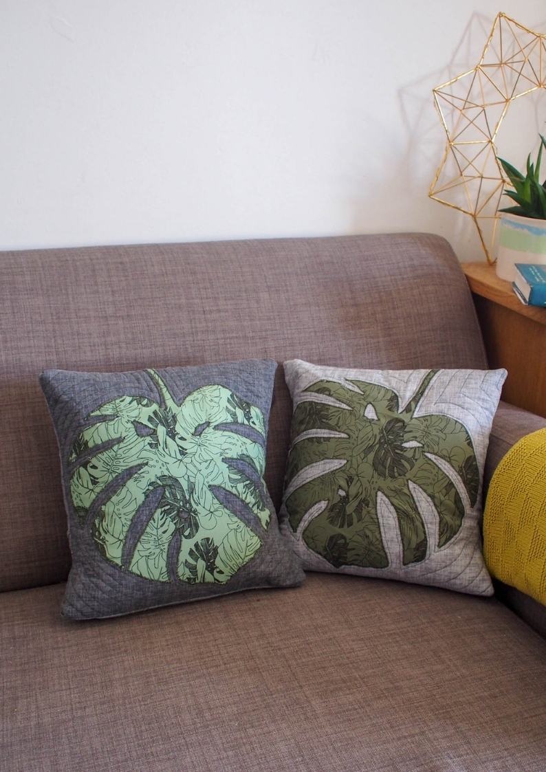 DIY Applique Monstera Leaf Cushions. I am obsessed with these leaves at the moment and want them on everything.