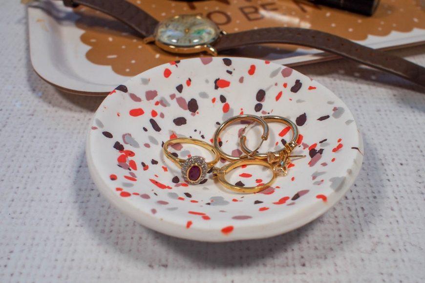 DIY Terrazzo Polymer Clay Ring Dish