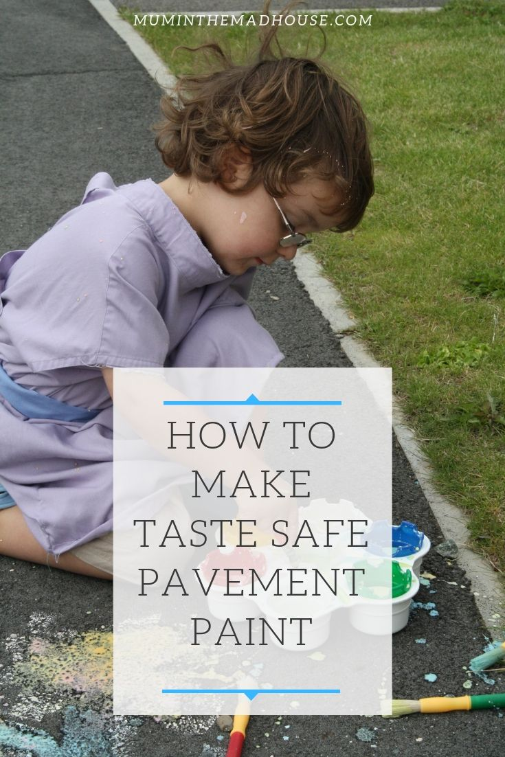Hate painting inside with the kids? Why not take advantage of good weather and make out simple pavement paint and take the creativity (and mess) outdoors.