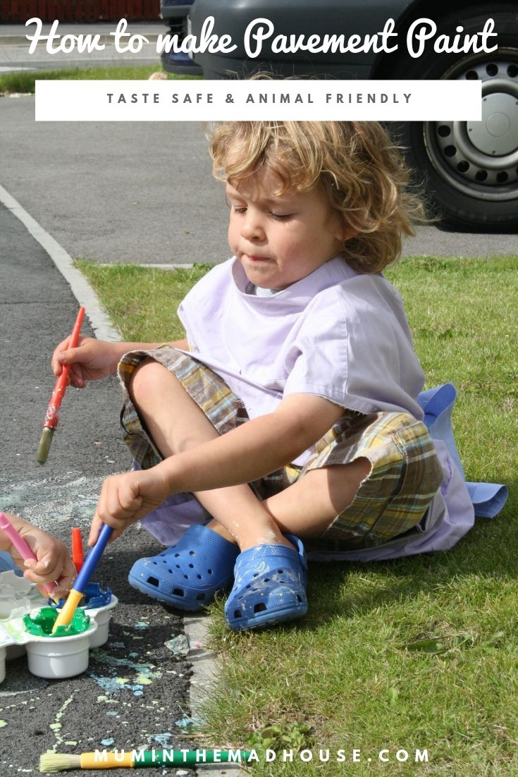 I know a lot of parents hate getting the paints out inside, so why not take advantage of good weather and make out simple pavement paint and take the creativity (and mess) outdoors.