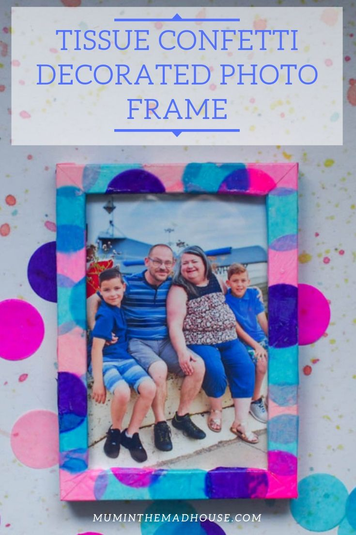 This Tissue Confetti DIY Decorated Photo Frame is a super simple and effective way to upcycle a cheap photo frame. So let's get crafty.