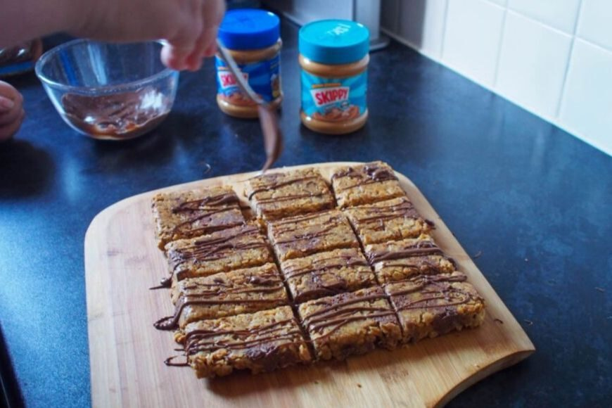 Adding chocolate to Peanut Butter Breakfast Bars or Flapjacks