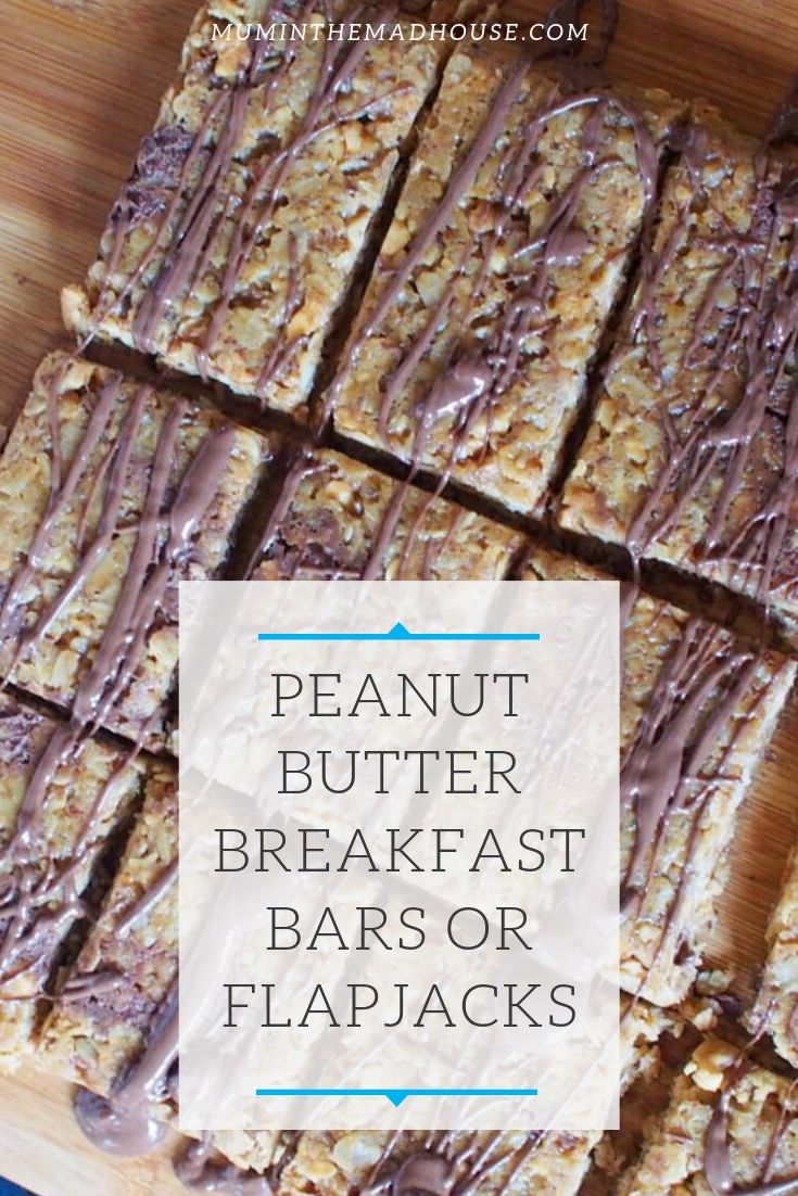 This quick and easy recipe for Peanut Butter Breakfast Bars or Flapjacks is packed full of peanutty goodness and taste delicious