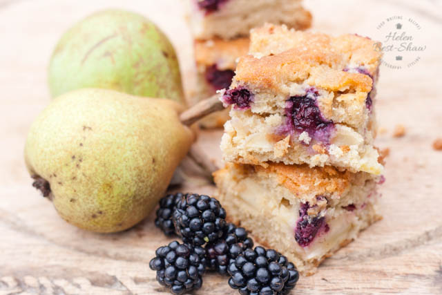 Blackberry and Pear Traybake