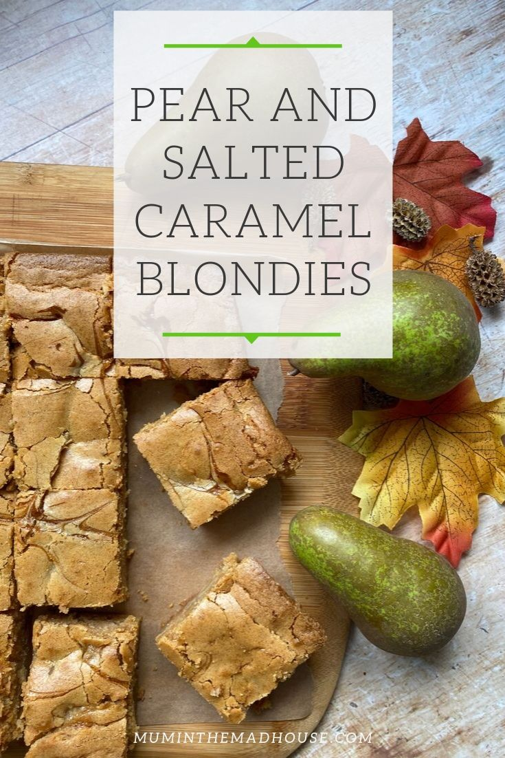 Amazing Pear and Salted Caramel Blondies.  Gooey, chewy, moist, and with the added pear I am sure they count as one of your five a day!