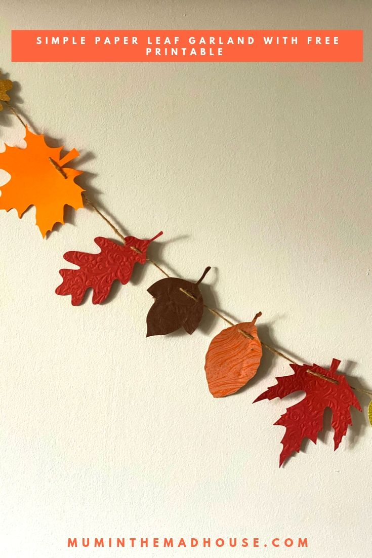 Simple Autumnal Paper Leaf Garland with Free Printable - Download your free leaf printable and follow our step by step instructions to make your own.