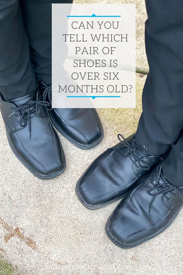Can you tell which pair of shoes is a week old and which is over six months old?  Treads - School shoes that last - yes really these genuine leather school shoes come with come with a 12 month indestructible guarantee.