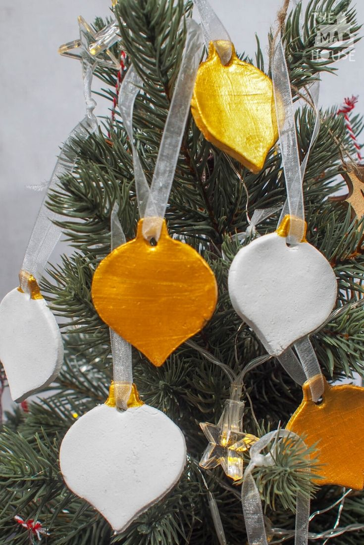 Let your Christmas tree shine with these DIY Gold and White Air Drying Clay Christmas Decorations.