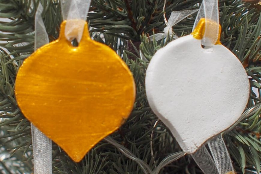 One white and one gold air drying clay decoration