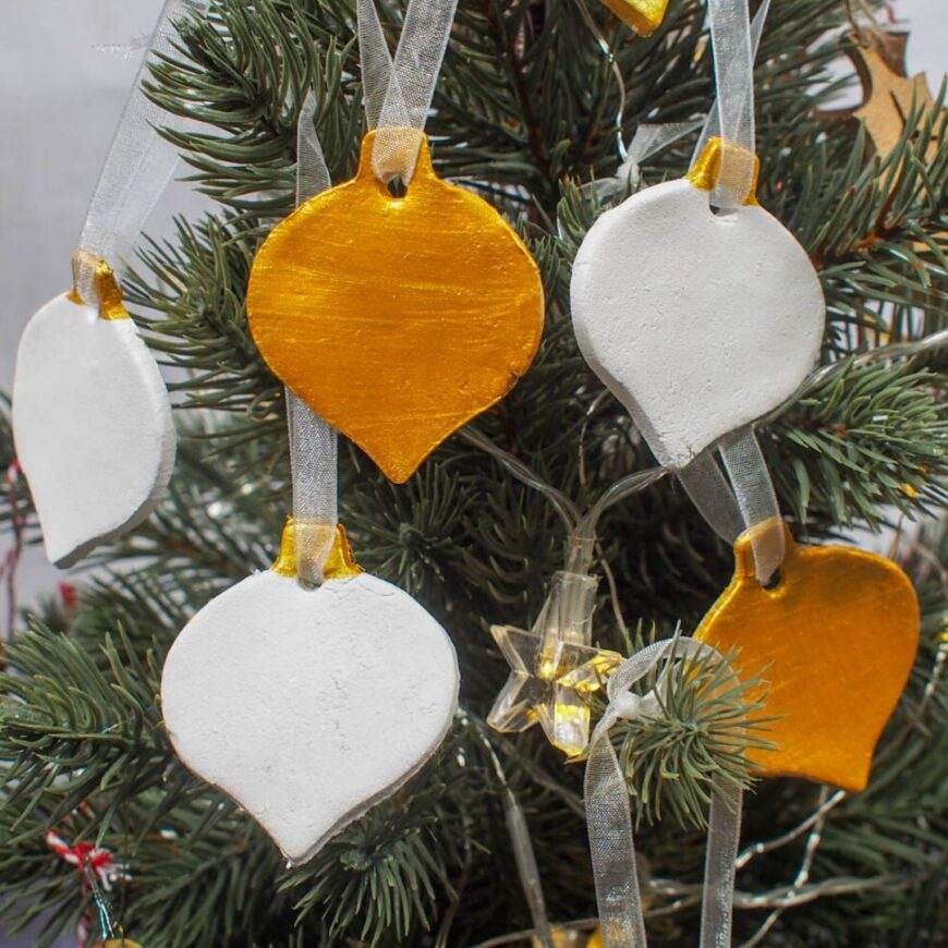 Gold and White Air Drying Clay Christmas Decorations