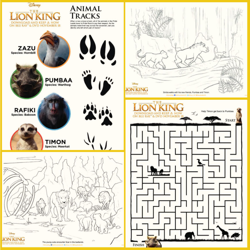 Lion King Activity Sheets