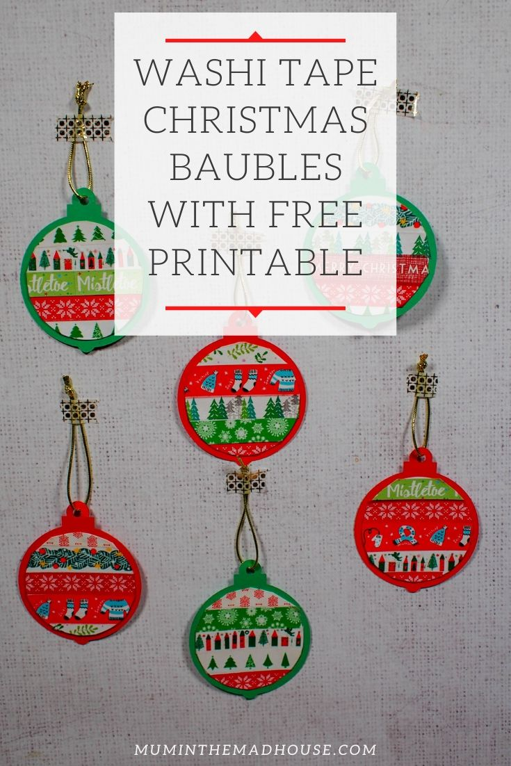 These Washi Tape Christmas Baubles with Free Printable are a fabulous mess free Christmas craft to do with kids.