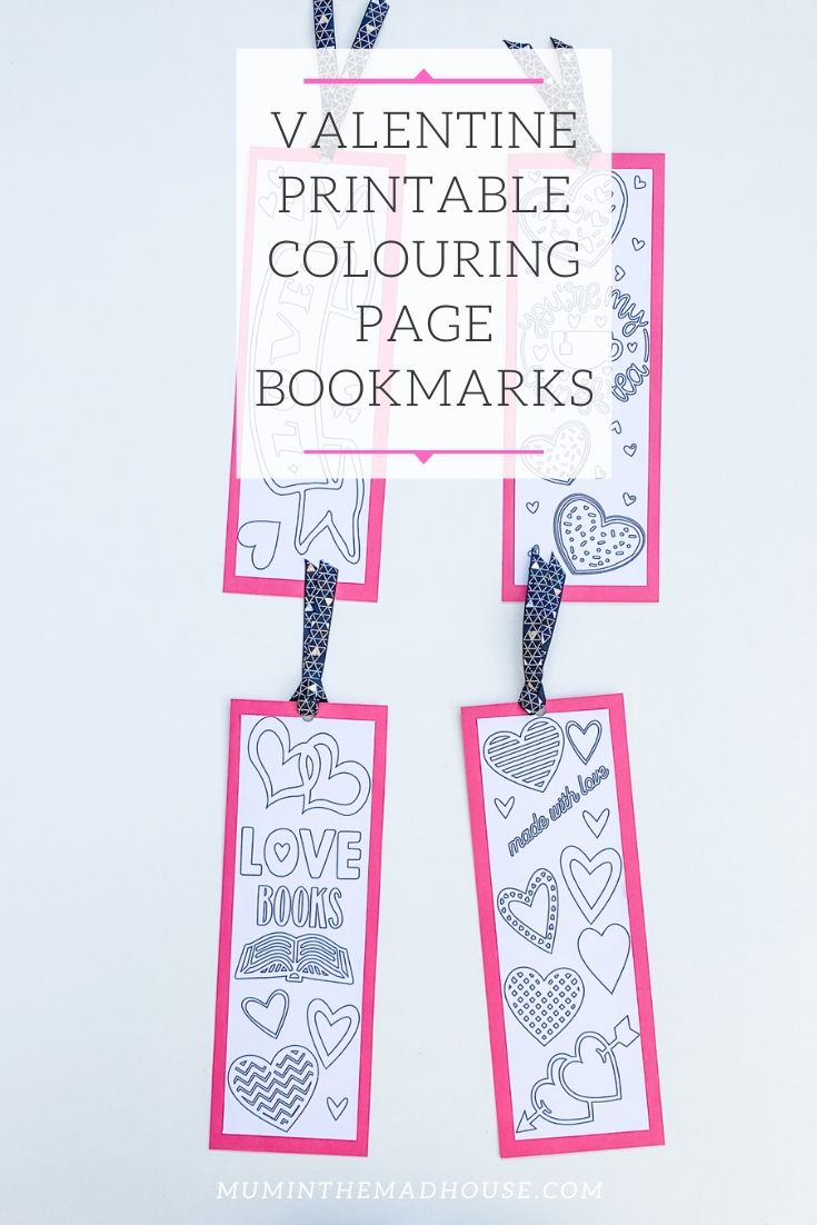 Valentine Printable Colouring Page Bookmarks