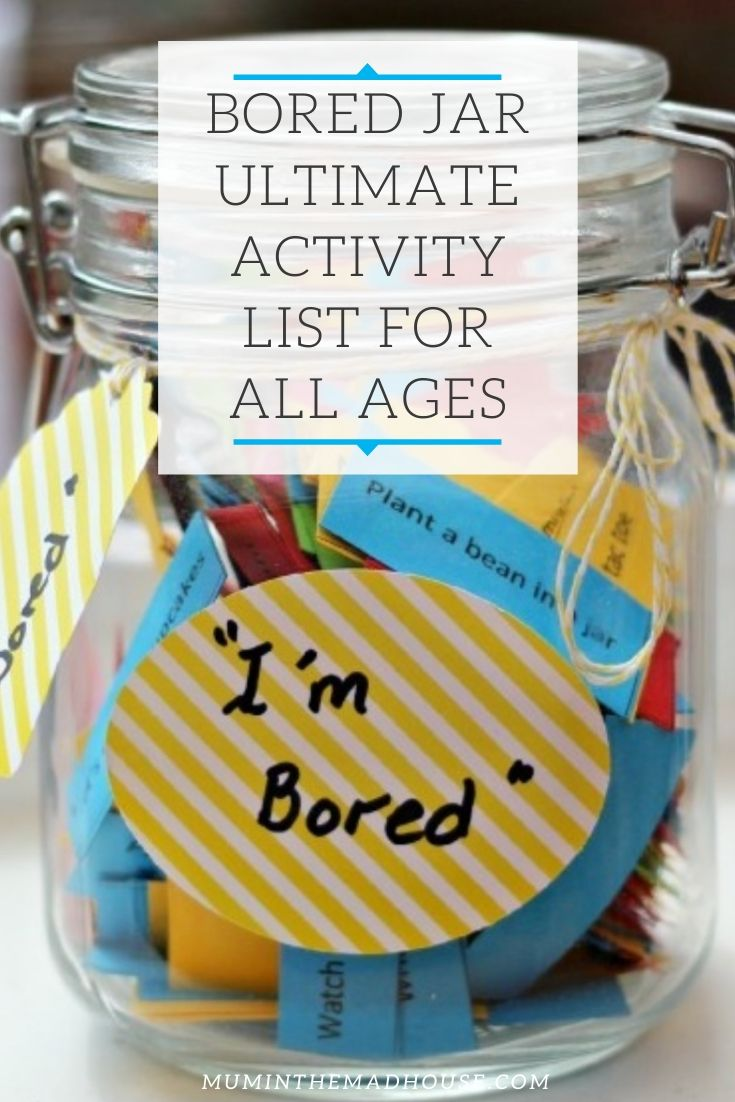 Now is the perfect time to introduce a bored jar into your family using our Bored Jar ultimate activity list.  A bored jar is a fabulous resource for busy parents.