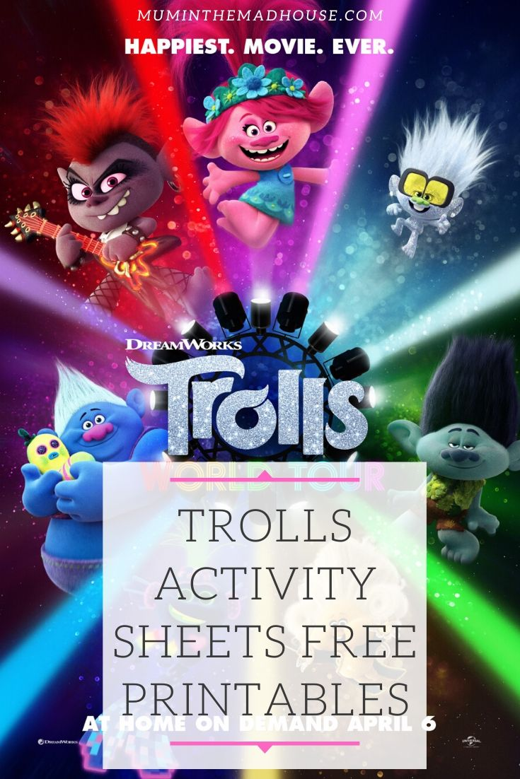 These fun free trolls activity sheets and free printables will hopefully give you five minutes peace. Celebrate Trolls World tour with our downloadable printables