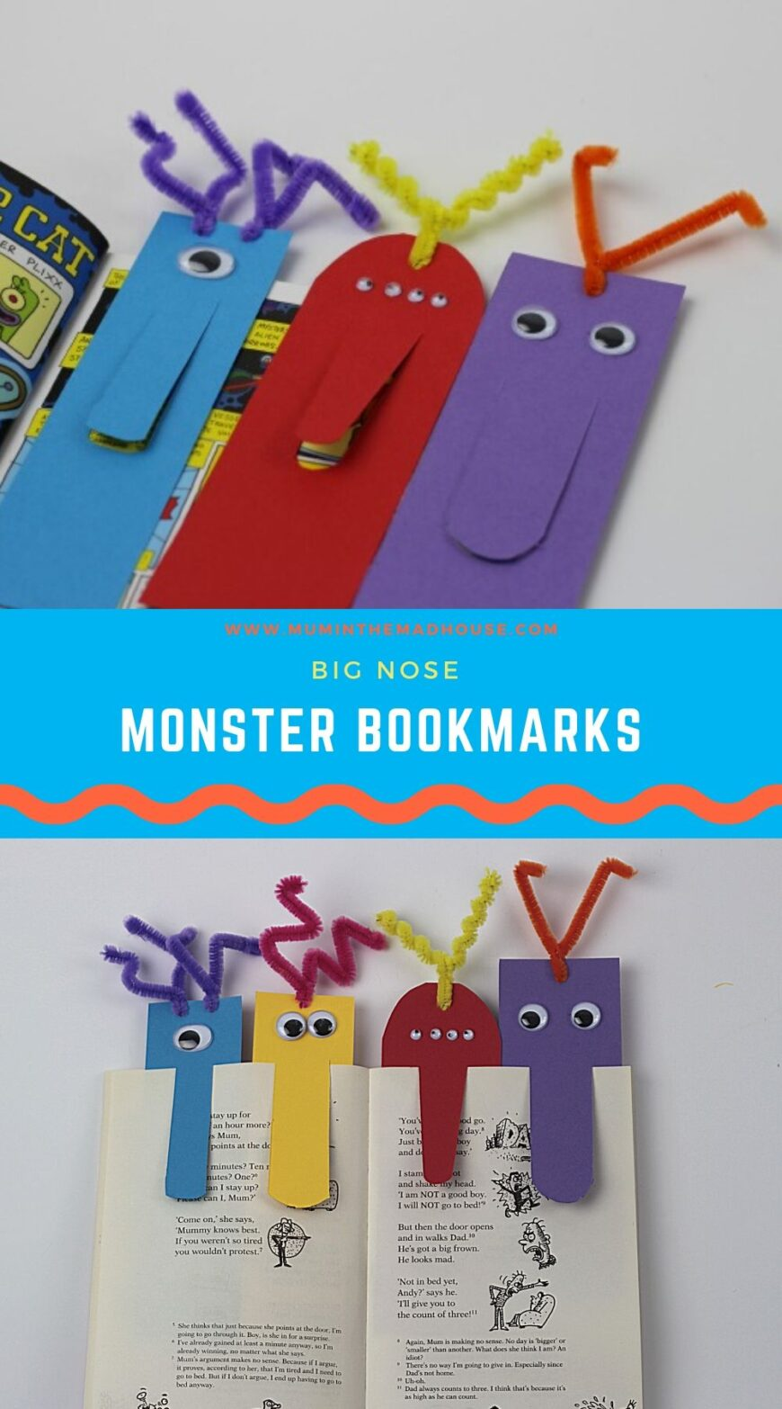Books will be a whole lot more fun when your kids make their own cute Big Nose Monster Bookmarks