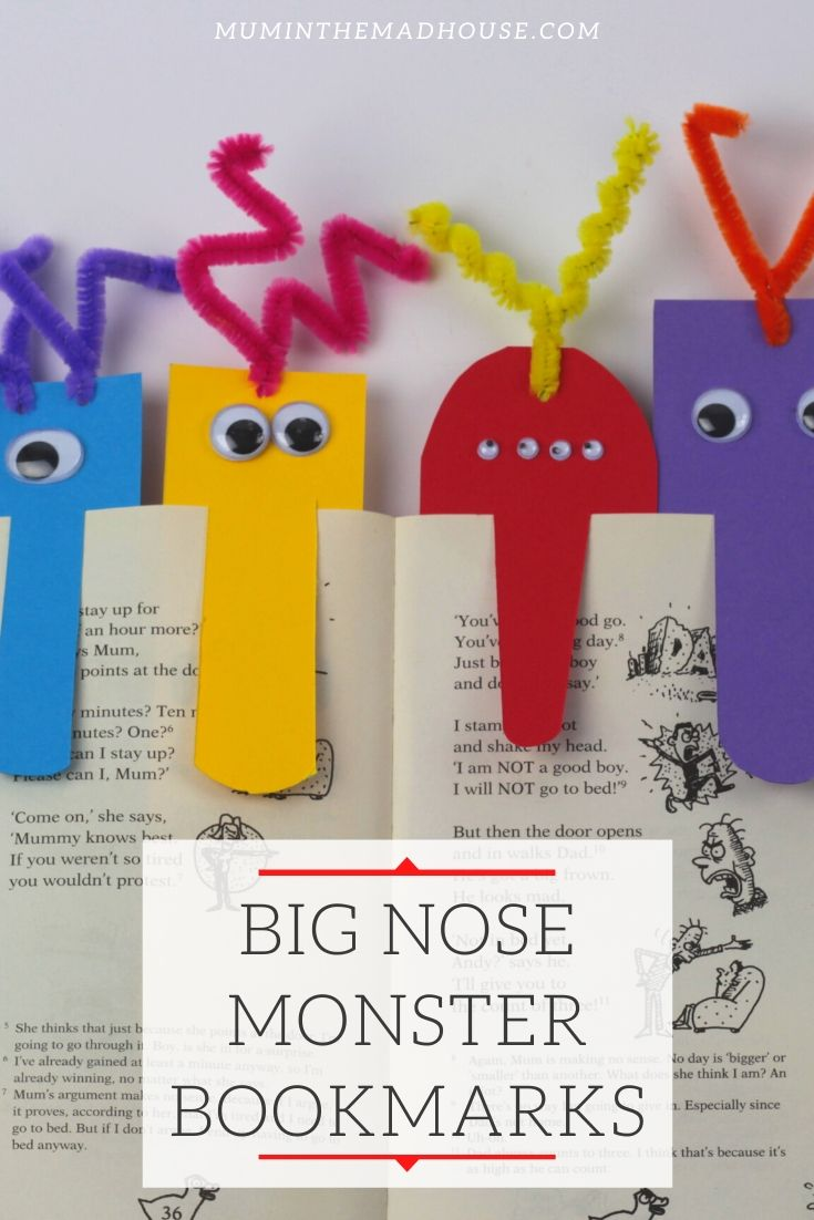 Super easy DIY monster bookmarks. We share a step by step tutorial to make colourful big nose monster bookmarks for your readers.