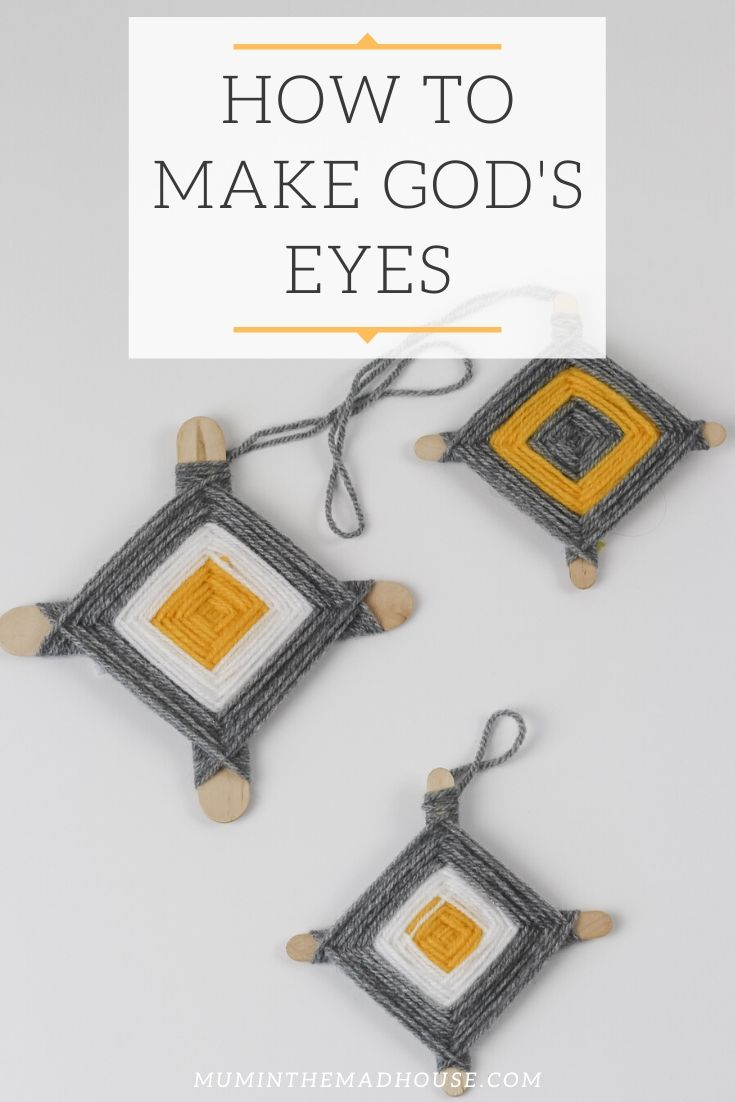 Make an easy God's Eye Craft, also known as Ojo de Dios (oh-ho-day-DEE-ohs), with yarn, sticks - we used popsicle sticks, and scissors.