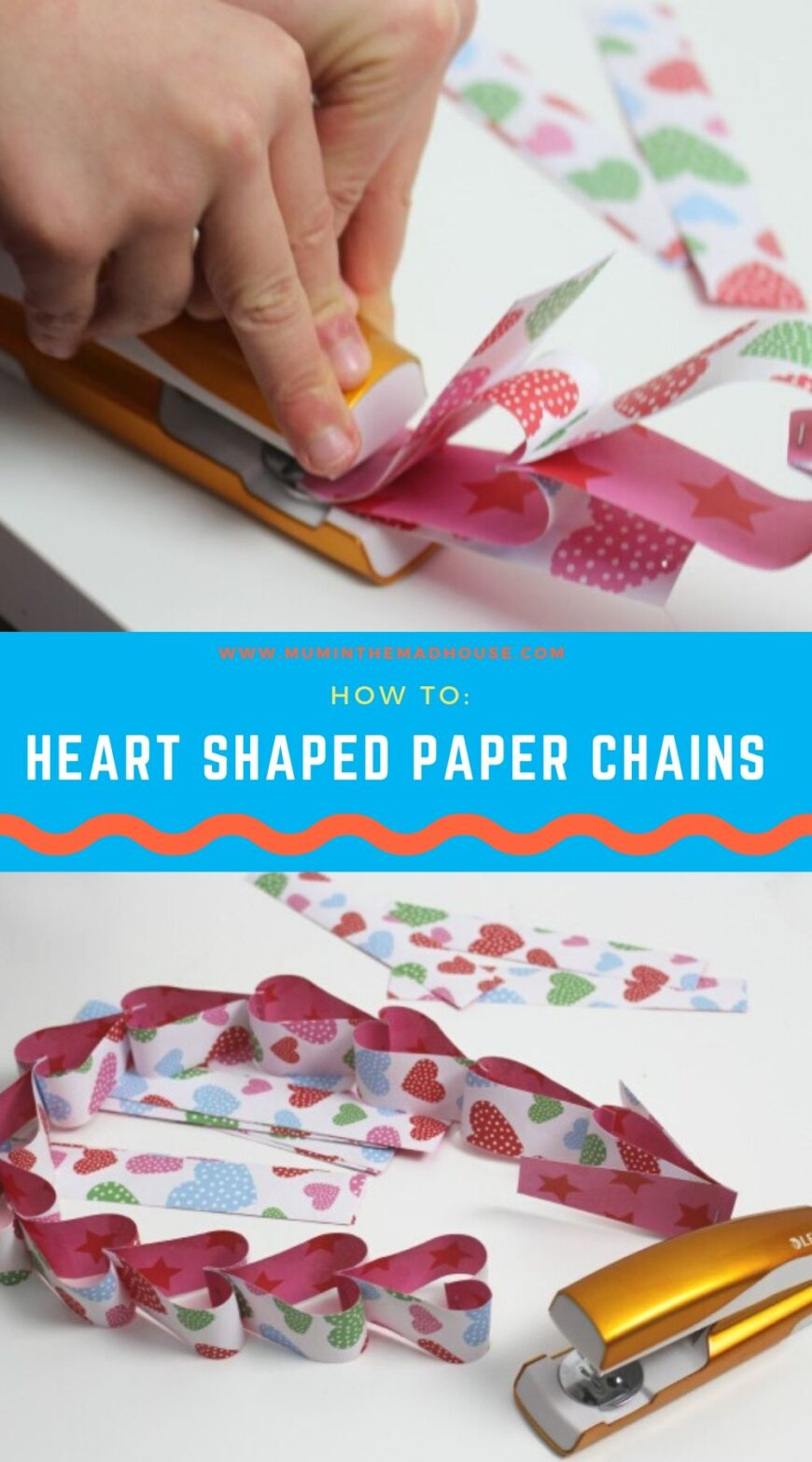 This sweet and simple heart-shaped paper chain is perfect for Valentine's Day, mostly because it's made with items you likely have hanging around the house.