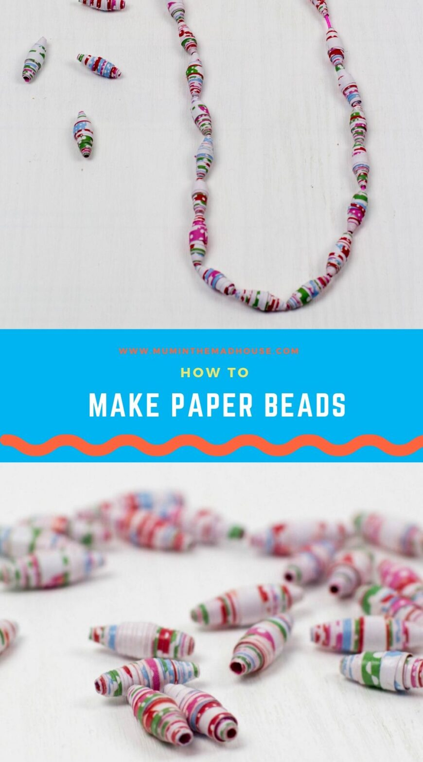 To make our paper beads shiny and more durable, we then coat them with either modgepodge or another varnish - we used DuraClear gloss varnish.  I love this as it is  non-yellowing and leaves your paper beads with a beautiful shine.