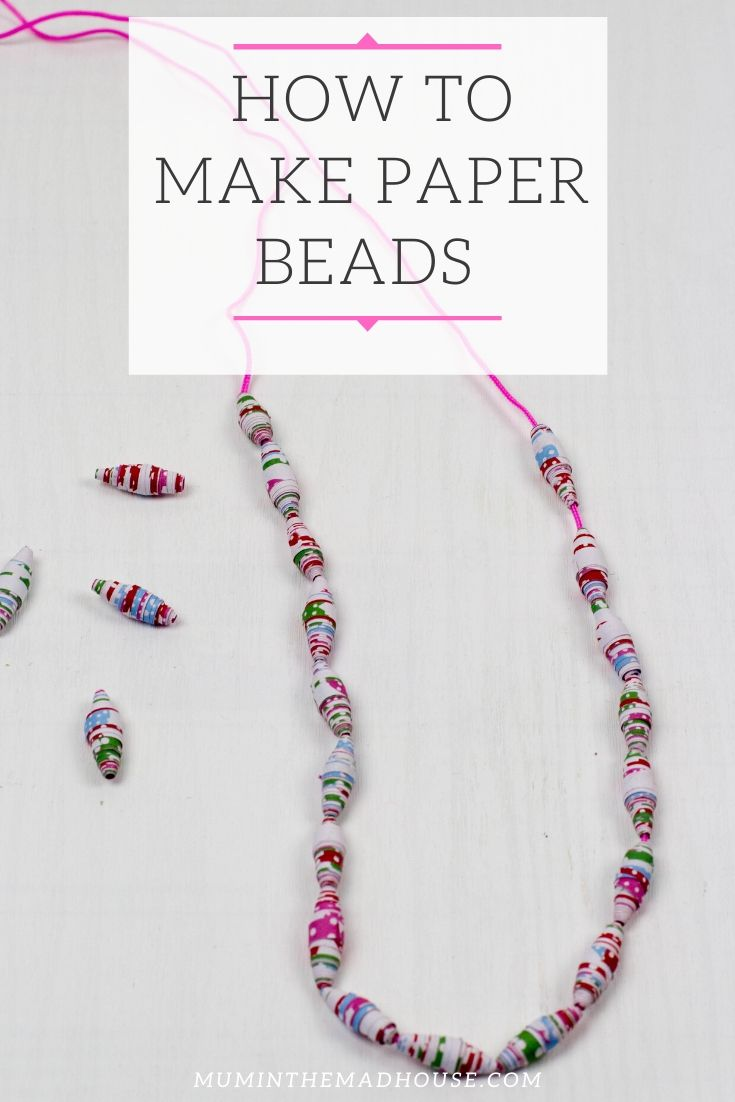 Have you ever tried to make paper beads necklace?  This was our first attempt at them and I am already sure it will not be our last.  We have had some great fun making paper beads from leftover wrapping paper this week.
