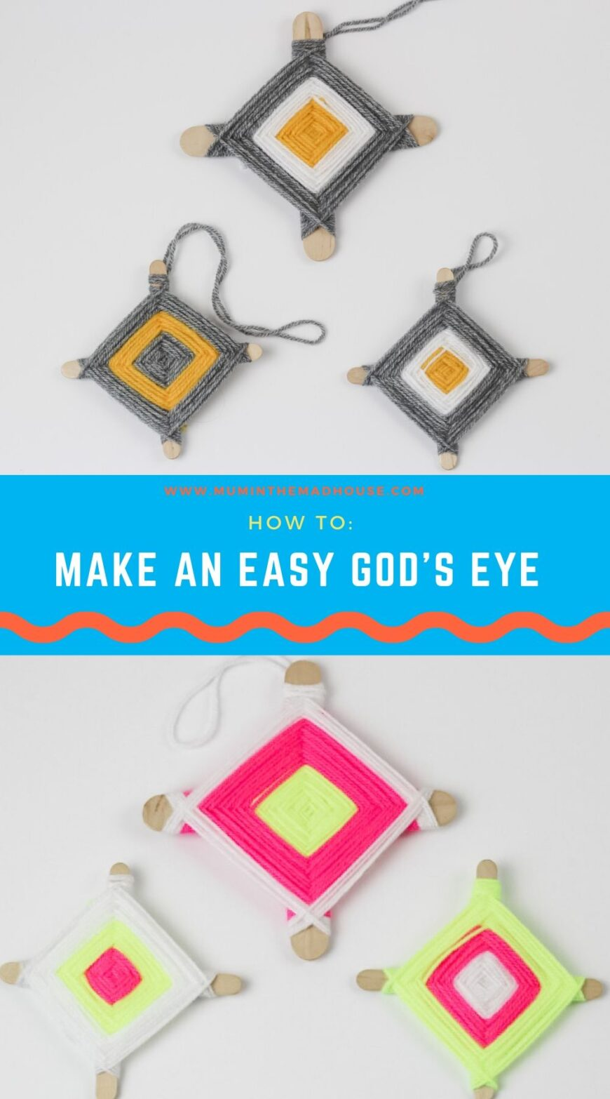 Kids can make this classic God's Eye craft with scraps of colourful yarn and 2 sticks. Great activity for strengthening fine motor skills