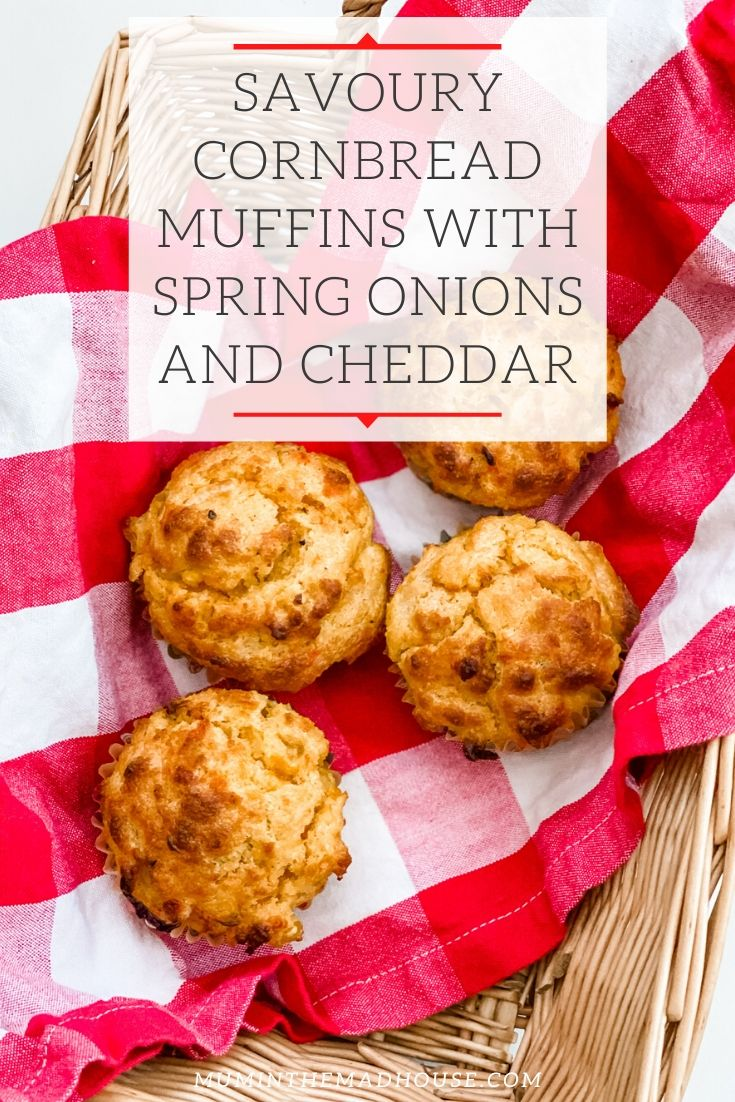 These Delicious Savoury Cornbread Muffins are made from scratch using polenta and flavoured with spring onions, mature cheddar, chilli and sweetcorn.