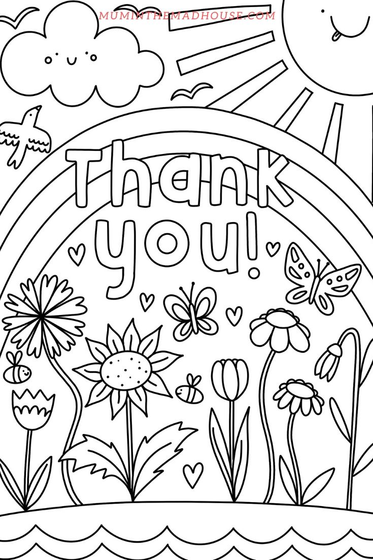 Thank You Colouring Pages Mum In The Madhouse