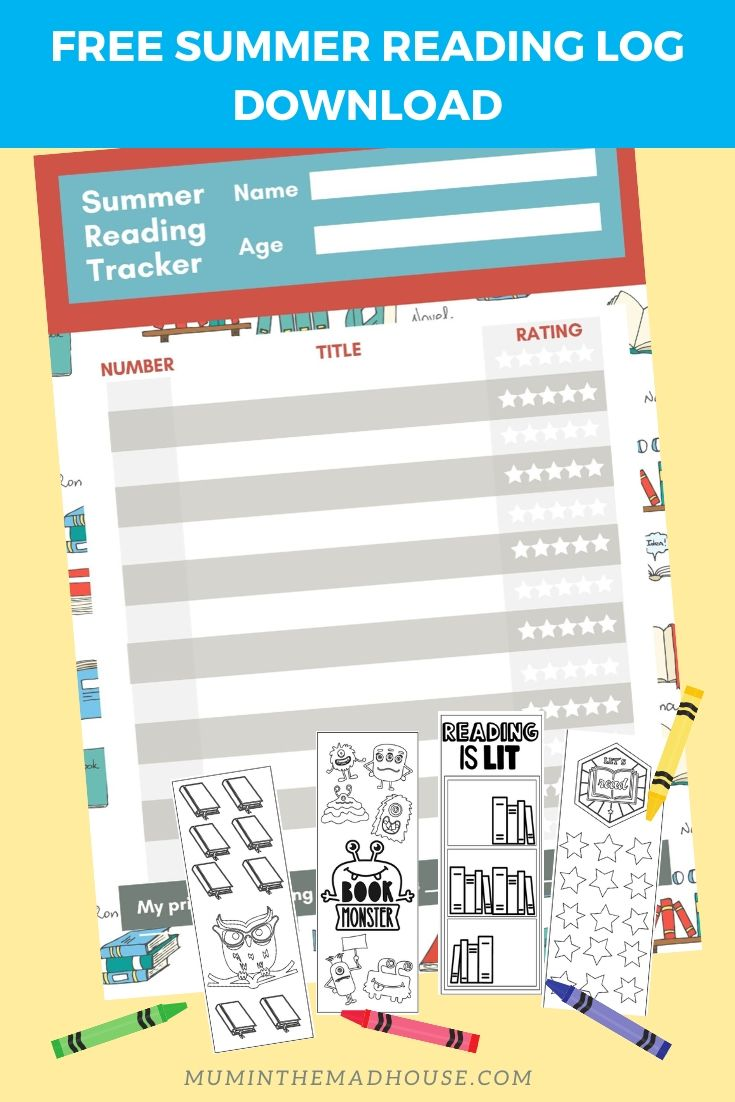 Free Summer Reading Log Printable and Summer Reading Log for Kids Book review sheet for kids, book ranking worksheet for kids. free summer worksheet