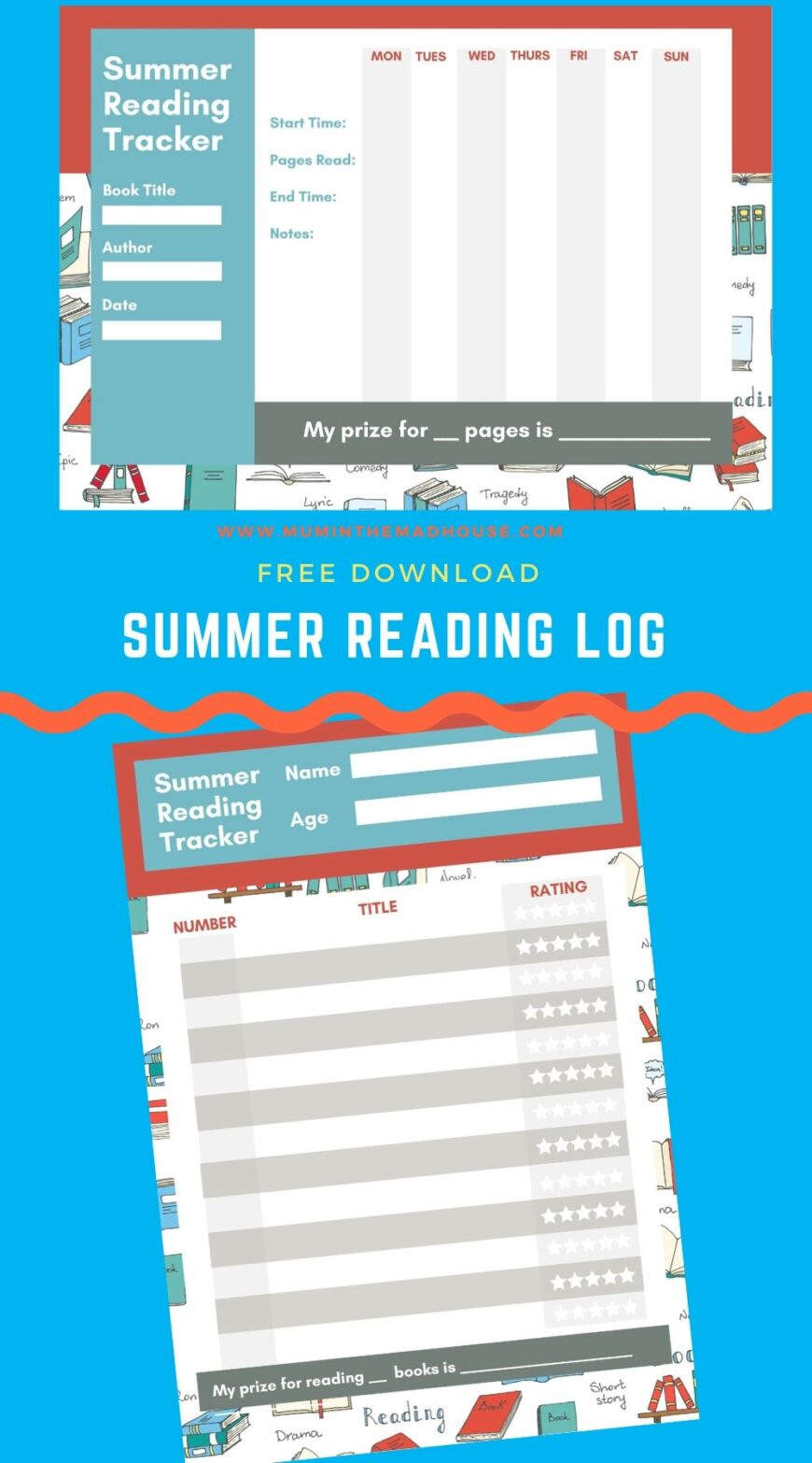 Free summer reading log printable that will inspire kids to read. Instead of giving your kids a list of books, provide them with our printables and set them a Summer Reading Challenge.