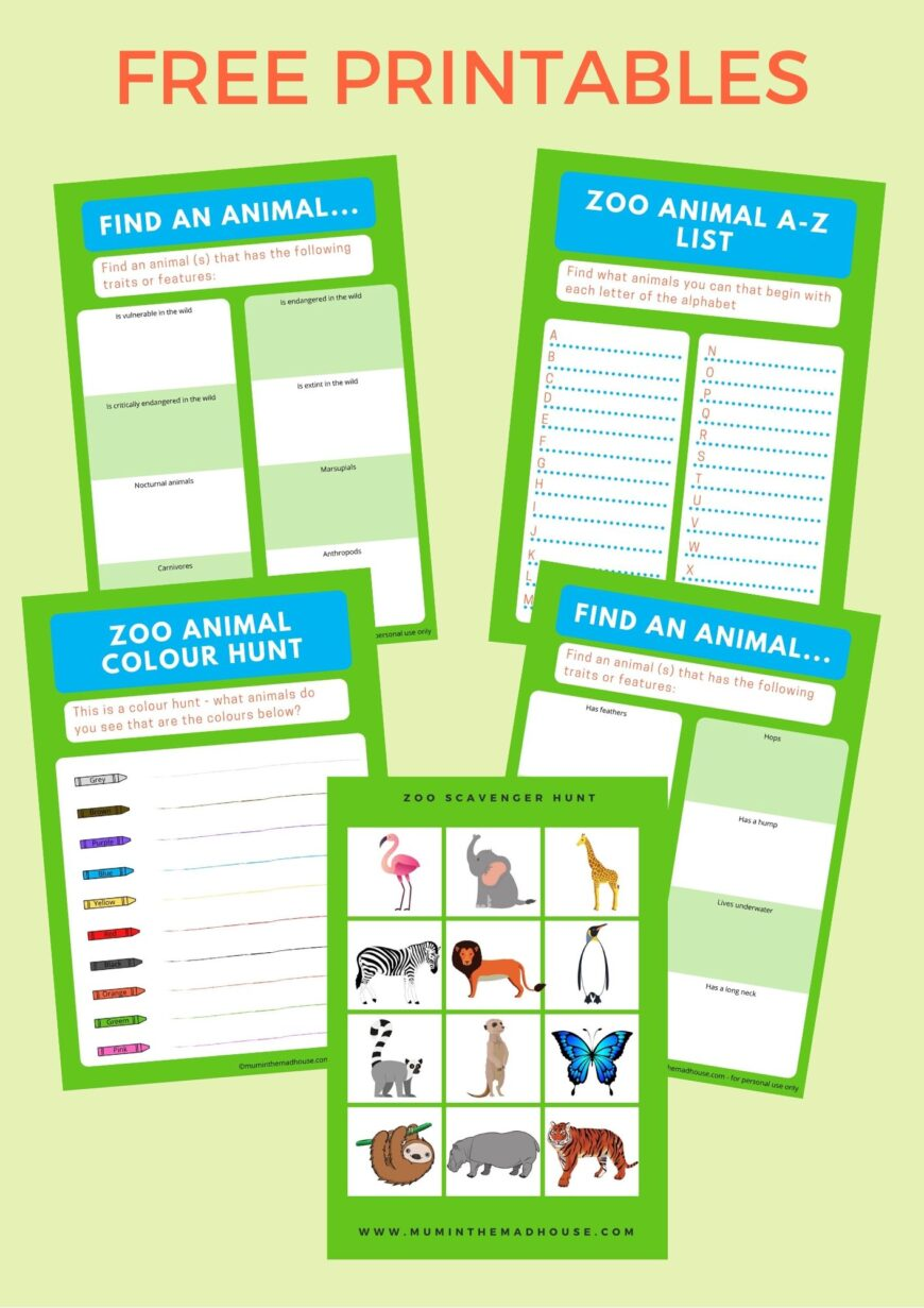 A fab selection of zoo scavenger hunt printables to download.