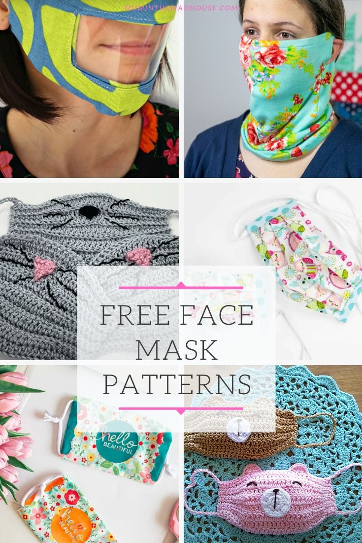 Free sewing patterns for face masks including ones with filters, nose wire and scarf style with our Free Printables Roundup of face mask patterns.