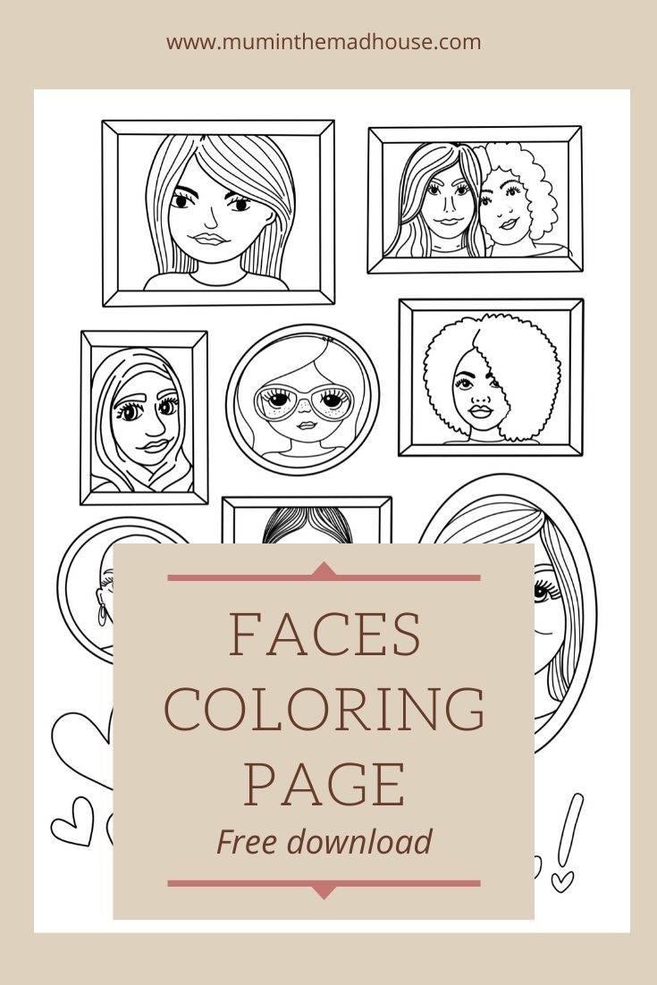 faces adult colouring page