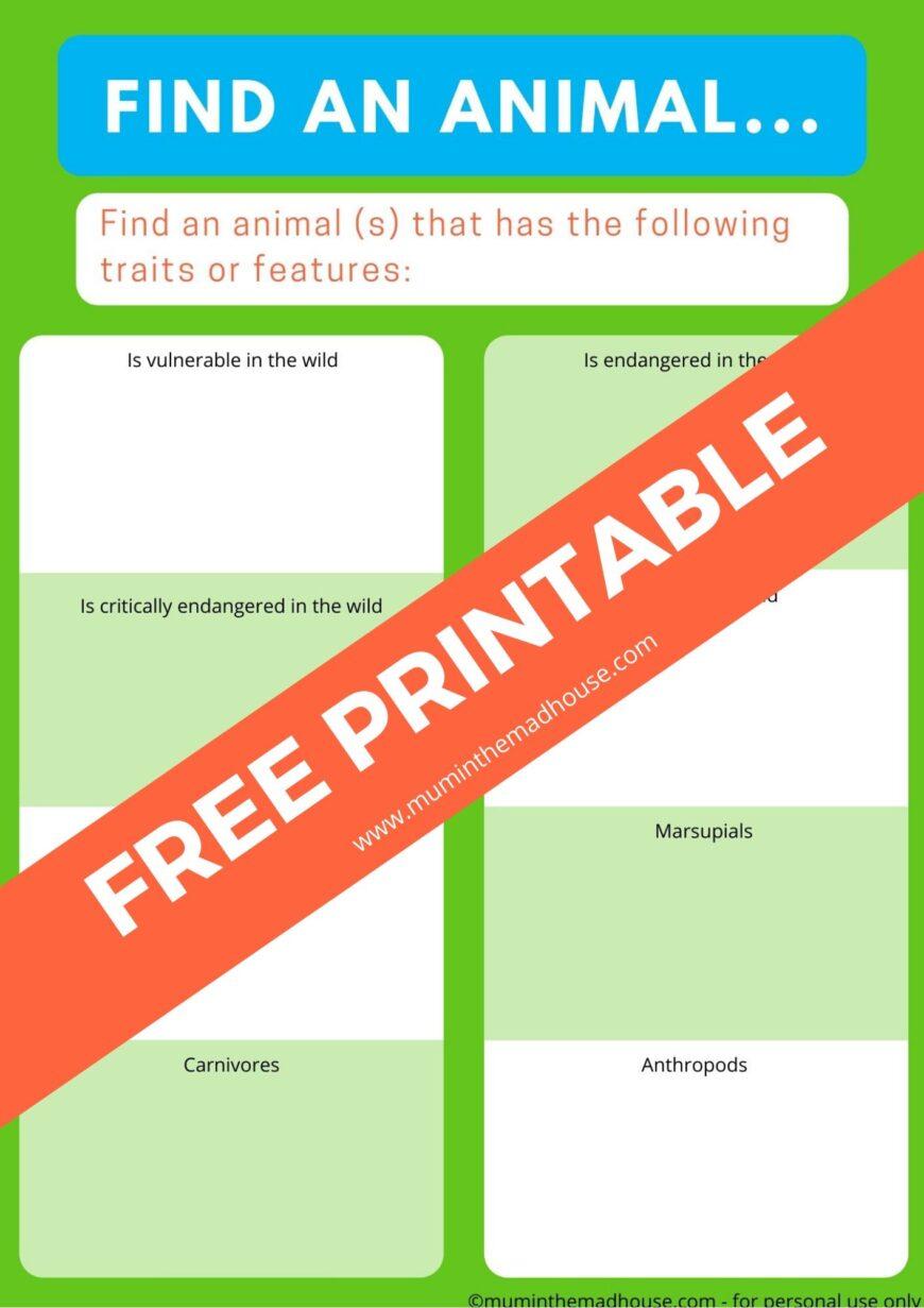 Find an animal - zoo scavenger hunt printable