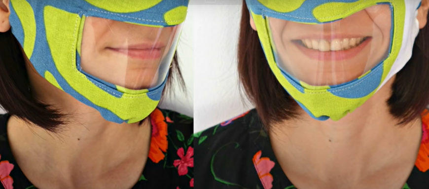 Reusable facemask with clear section