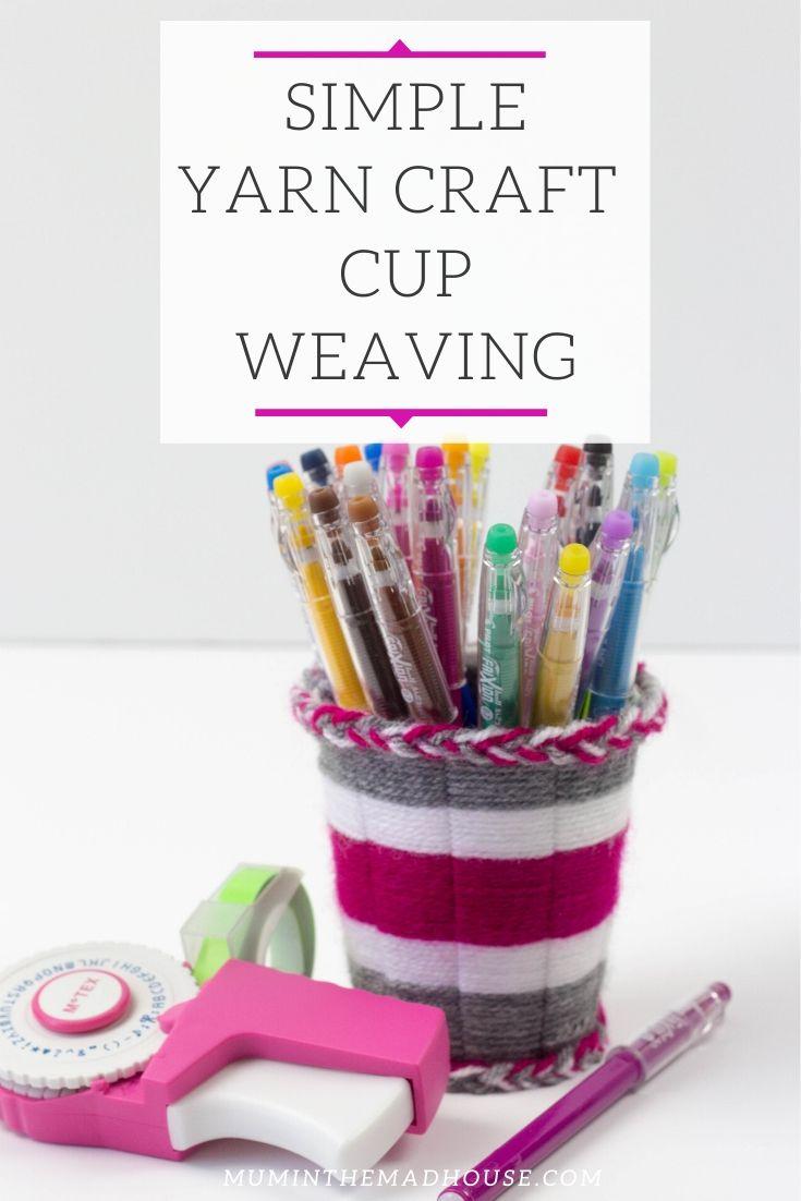simple yarn craft cup weaving