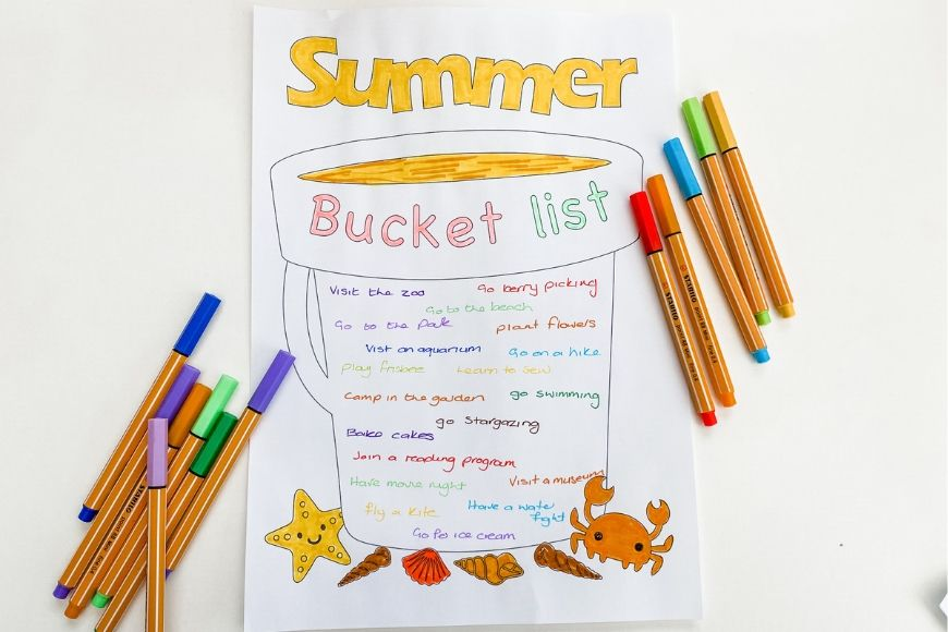 Print off this customisable summer blank bucket template perfect for a family bucket list