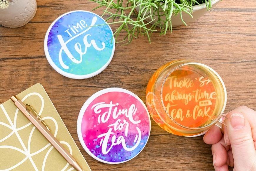 DIY Tea Pun Coasters Using Cricut Infusible Ink