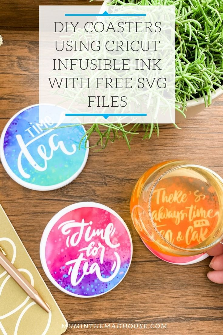 DIY Coasters Using Cricut Infusible Ink with free SVG files