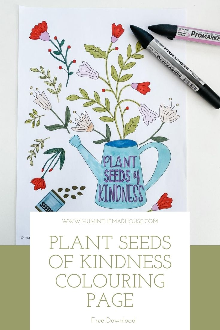 I love colouring and I love kindness, so I couldn't resist combining the two and developed this Plant Seeds of Kindness Colouring page.