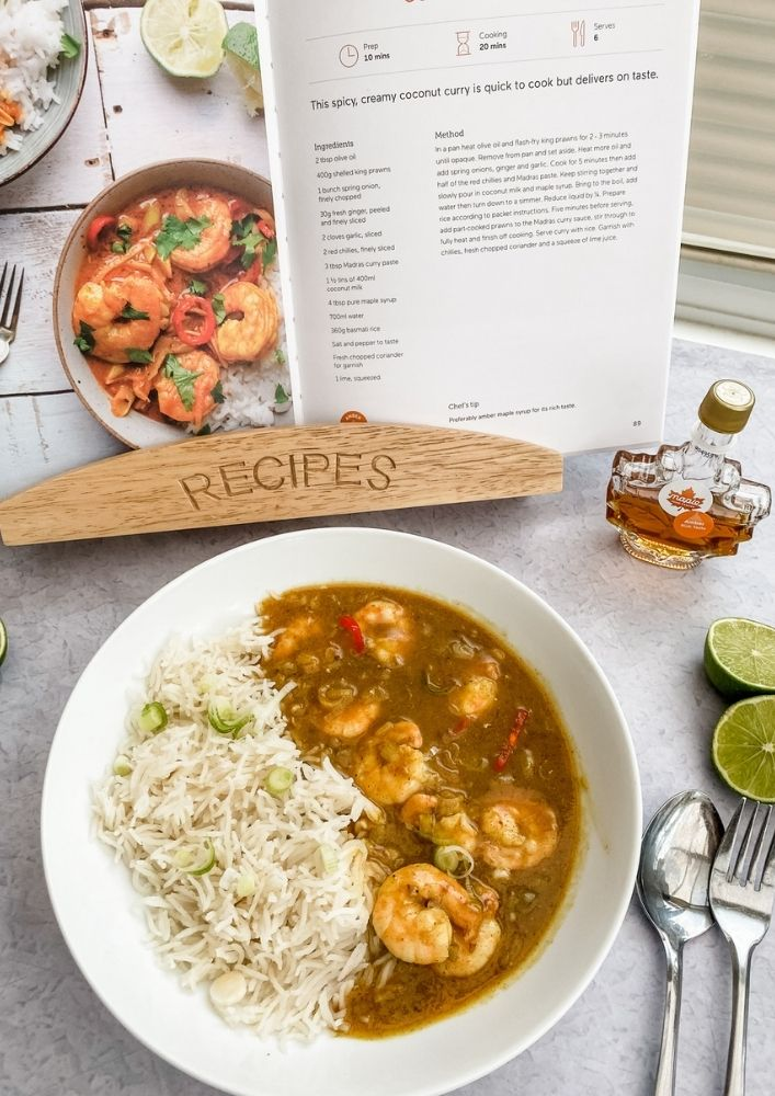 This King Prawn and Spicy Maple Curry is simple to make, tastes as goof as it look and has a delicious depth of flavour.