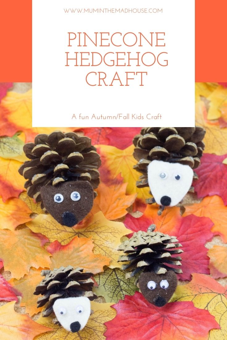 Pinecone Hedgehogs made from Autumn Treasure.  How to make a cute pinecone hedgehog family. A great nature craft for autumn and fall