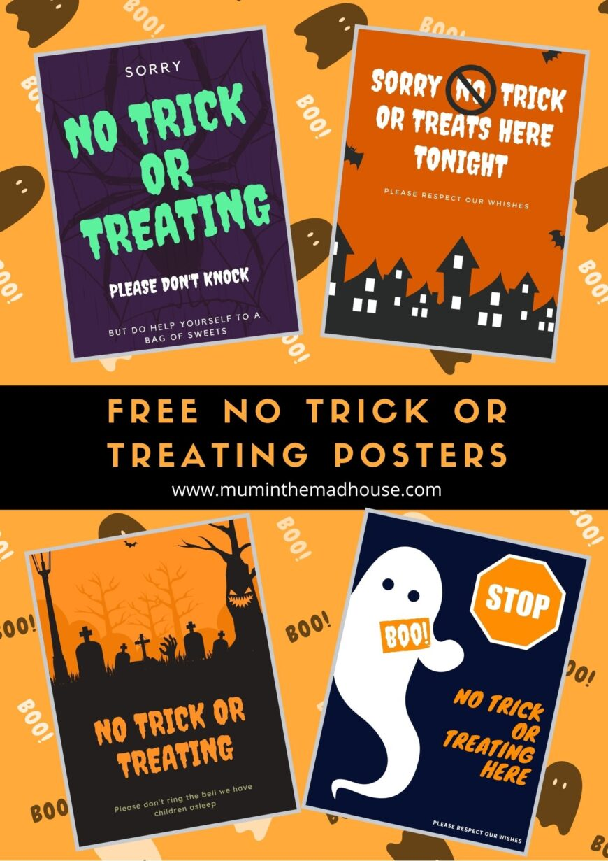Free Printable No Trick or Treating Signs for those who don't want trick or treaters this Halloween
