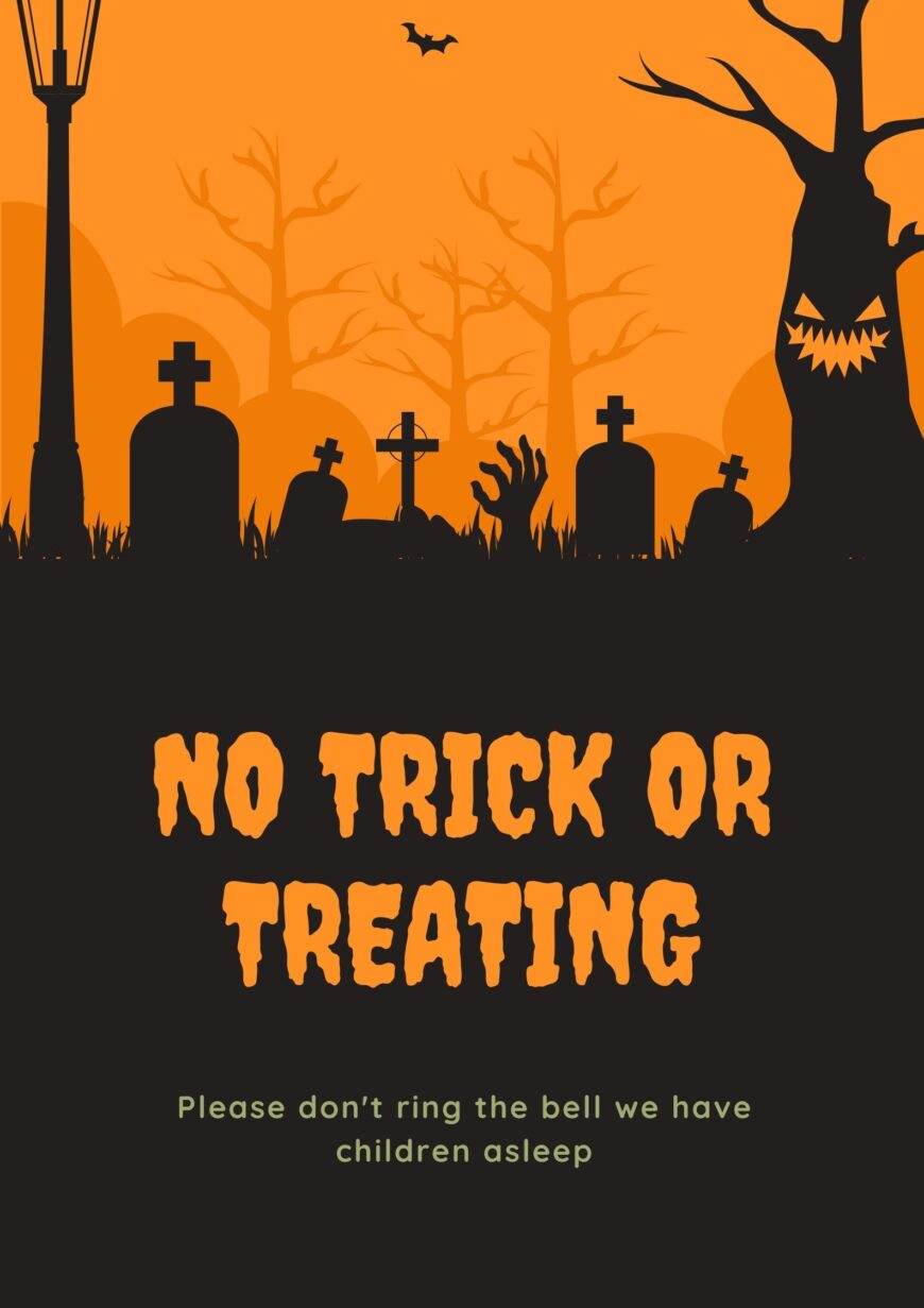 Free Printable No Trick or Treating Sign for those who don't want trick or treaters this Halloween